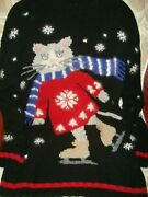 Ugly Christmas Sweater Commercial Rare Ice Skating Cat Xl Winner Party Funny