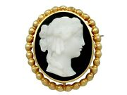 Antique French Cameo Brooch / Pendant In 18k Yellow Gold