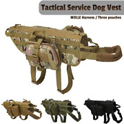 Tactical Dog Vest Molle Harness Military Training K9 Dog Service Vest With Pouch