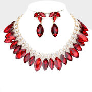 Luxe Rare Gold Siam Red Vibrant Crystal Cocktail Necklace Set Rocks Boutique