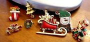 Mixed Lot Of Vintage/antique Christmas Brooch Collection Pin Holiday Jewelry 7