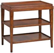 Side Table Lipped Top Hand-rubbed Distressed Rustic Acacia Wood 2-shel