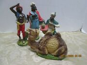 4 Nativity Figures 3 Wisemen Camel Made In Italy 2-0lchr-11-