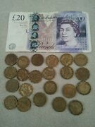 England 20 Pound Banknote 22 Three Pence Coin Uk Banknote Andcoins English