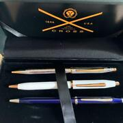Cross Ballpoint Pen Set Of 3 Gold And Chrome Trim With Box Sh1218