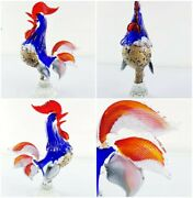 """Vintage C1950 Multi Coloured Silver Leaf Murano Art Glass Cockerel Rooster 11""""🎁"""