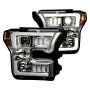 For Ford F-150 15-17 Chrome Mustang Led Tri-bar Style Projector Headlights