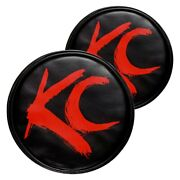 Light Covers 6 Round Black Vinyl Light Covers W Red Brushed Kc Logo For