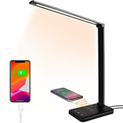 Multifunctional Led Desk Lamp With Wireless Charger Usb Charging Port 5 Modes Us