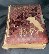 Large Antique Holy Bible 1890 Red Leather Bound Book A.j. Holman Bible Rare