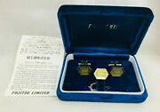 Great Orig. Vint. 1970's Fujitsu Tiny Giant Computer Chip Cufflinks And Tie Tack