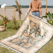 Yilong 4.3and039x6.6and039 Turkish Handmade Silk Rugs Flowers Hand Knotted Carpets 1794