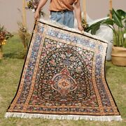 Yilong 4and039x6and039 Interior Handknotted Silk Carpet Home Decor Flowers Area Rug Z399a