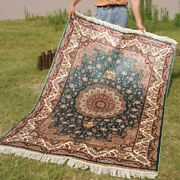 Yilong 4'x6' Blue Silk Area Rugs Hand-knotted Medallion Floor Decor Carpets 0623