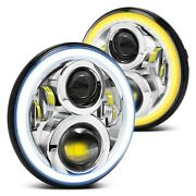 For Chevy Monte Carlo 70-72 Headlight 7 Round Chrome Projector Led Headlights W