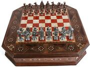19 100 Handmade Royal British Armyandnbspantique Rose Wooden Chess Board Imported