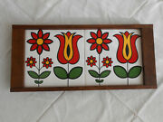 Vintage Hand-painted Tiles Wood Serving Tray, Brazil, Multi-color