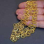 18k Solid Gold Handmade Flat Half Moon Circle Cable Chain Necklace Clasp 22 Inch