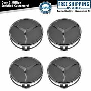 Oem 22040001257756 Wheel Cap Gray And Chrome Center Set Of 4 For Mercedes Benz
