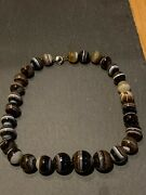 Antique Bonded Agate Large Heavy Bead Necklace.