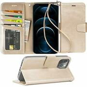 Iphone 12 Pro Max Wallet Case With Card Holder And Wrist Strap Champagne Gold
