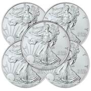 Lot Of 5 - 2021 1 Type 1 American Silver Eagle 1 Oz Brilliant Uncirculated