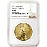 2021 50 Type 1 American Gold Eagle 1 Oz. Ngc Ms69 Brown Label