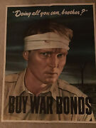"""Original Vintage Wwii War Bond Poster """"are You Doing All You Can Brother"""" 22x28"""