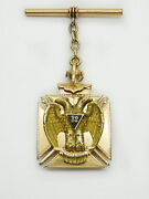 Estate Vintage Double Headed Eagle 32nd Degree Medallion And Fob 14k Gold