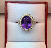 African Amethyst Ring Handmade 14k Yellow Gold With Oriental Seed Pearls6.15 Ct
