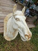 Rare Antique French 1800s Cast Iron Horse Head Trade Sign Depression Time Readme