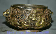 7 Marked Old Chinese Purple Copper Palace Dragon Handle Lion Ear Censer
