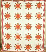 Museum Quality Vintage 1850and039s Red Green And Cheddar Whig Rose Applique Quilt