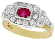 Antique 0.60ct Ruby Ring With 0.59ct Diamond In 14k Yellow Gold - Size 6