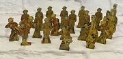 1930andrsquos Marx Wwi Metal Soldiers Targets 20 Pieces W/ Case