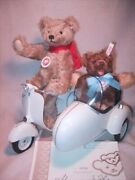 Steiff Teddy Bear And Vespa Motor Scooter Set Limited 1500 W/sidecar And Box New