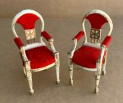 Dollhouse Doll House 2 Red Velvet Chairs Plastic Miniature Vintage Ideal