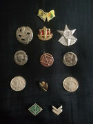 Israeli Crew Neck, Neck Section, Lots Of Navy Military Army Badges With Original