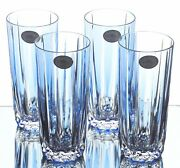 4 Ajka Azure Light Blue Cased Cut To Clear Crystal Highball Water Tea New Signed