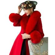 Womenand039s Coat Wool Large Fox Fur Collar A-line Slim Pleated Dress Jacket Party L