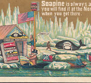 North Pole 1800s Arctic Exploration Uncle Sam Whale Ship Soapine Soap Trade Card
