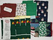 Lot Of Christmas Fabric Material And Cranston Panels Snowman Trees Plaid Etc
