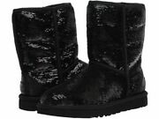 New Authentic Ugg Classic Short Sequin Boots Black Size 7