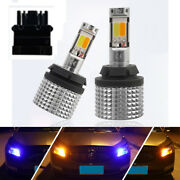 Canbus Led Drl Switchback Front Turn Signal Light Bulbs 3156 Cob Blue Amber Dual