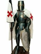 Medieval Knight Suit Of Templar Armor W/sword Combat Full Body Armour Stand