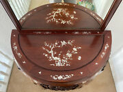 Chinese Antique Rosewood Half Moon Table Mother Of Pearl With Mirror
