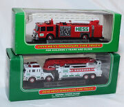 2 Hess Gasoline Miniature Fire Trucks 1999 Red And 2010 White Nrfb