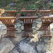 Lot Of 2 Savonarola Chairs And Table Italian X Dante Throne Wooden Folding Chair
