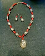 Black Lava Rock And Red Coral Statement Necklace And Earrings Set, Hand Made