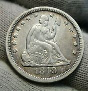 1849 Seated Liberty Quarter 25 Cents - Key Date Only 340000 Minted Nice 9845